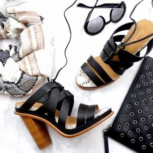 Calvin Klein Strappy Black & Snake Lace Up Sandals